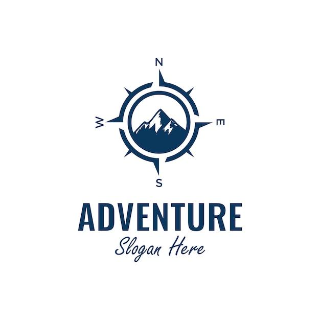 Вдохновение дизайн логотипа с элементами компаса и горы, Premium векторы