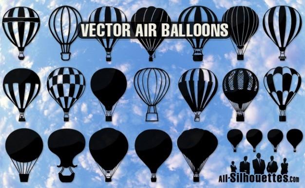 Воздушные шары силуэты Бесплатные векторы