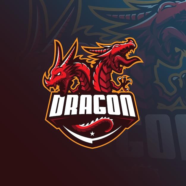 ドラゴンマスコットロゴ Premiumベクター