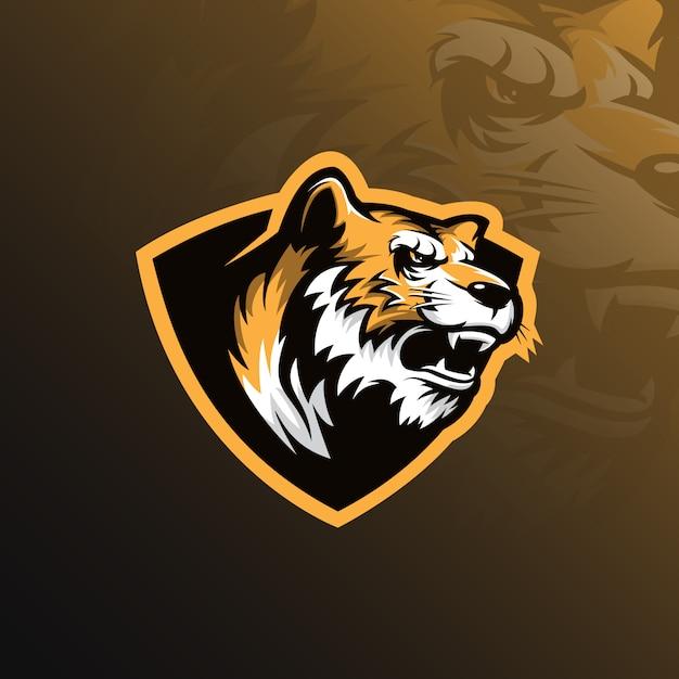 Тигр талисман логотип дизайн вектор с современной иллюстрацией Premium векторы