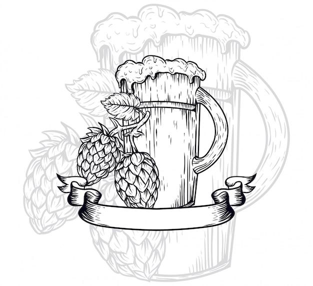 Крафт пиво наброски иллюстрации Premium векторы