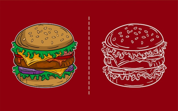 Гамбургер старинные иллюстрации, редактируемые и подробные Premium векторы