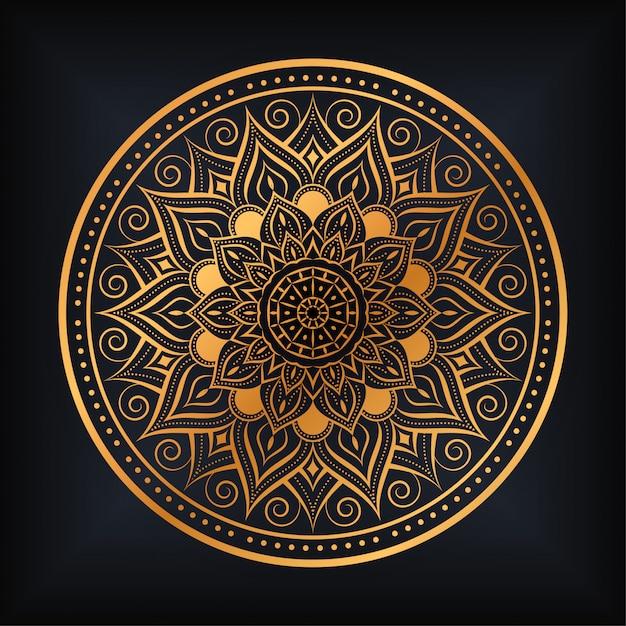 Роскошный дизайн иллюстрации мандалы арабески Premium векторы