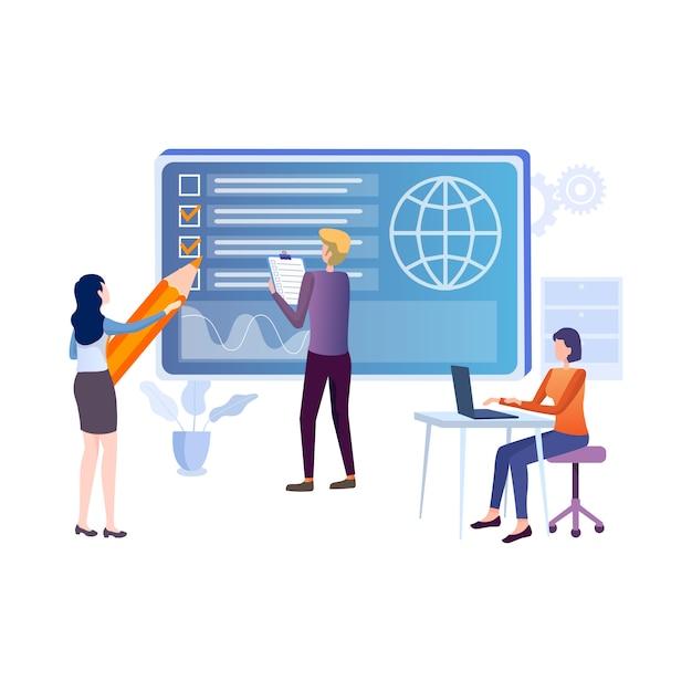 Онлайн образование плоская иллюстрация Premium векторы