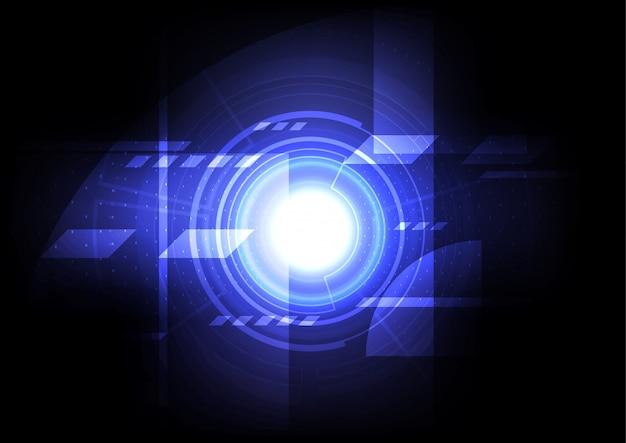 Инженер-механик абстрактный фон, цифровая технология компьютер онлайн-коммуникации, голубая энергия энергетическая голограмма Premium векторы