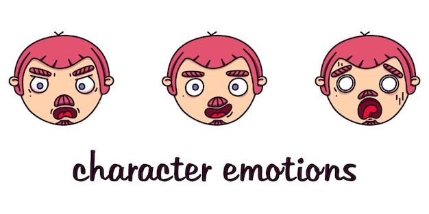 Набор мужских головок с разными эмоциями Premium векторы