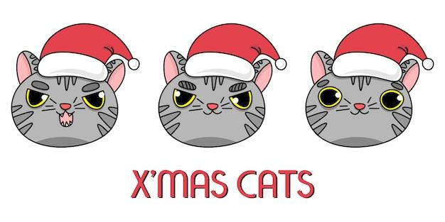 Серые коты в новогодней шапке Premium векторы