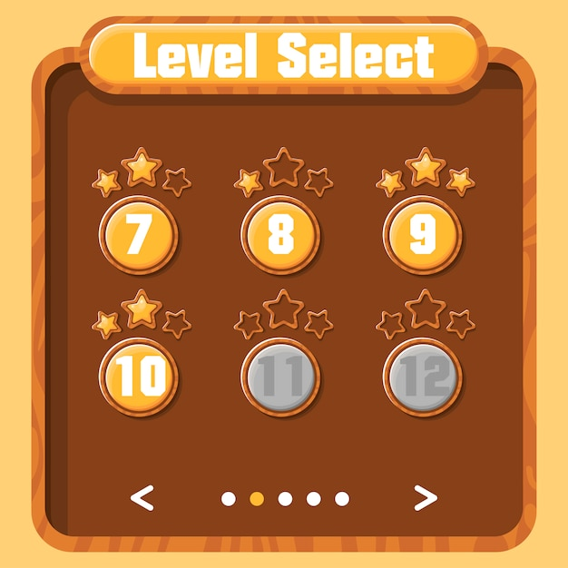Выбор уровня, прогресс игрока. векторный графический пользовательский интерфейс для видеоигр. яркое меню с кнопками и золотыми звездами. текстура дерева. Premium векторы