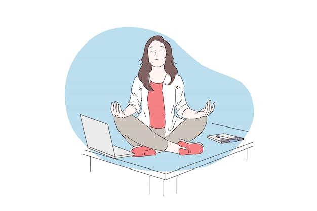 マインドフルネス、瞑想、メンタルヘルスのコンセプト。 Premiumベクター