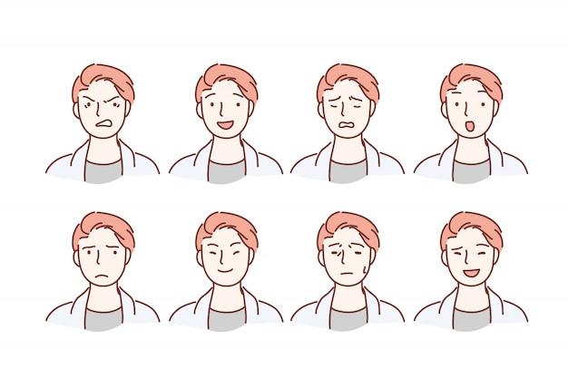 背景に分離された異なる表情セットを持つハンサムな男の肖像画。 Premiumベクター