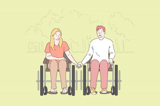 障害者、ロマンチックな関係。公園、若い女性、車椅子の男、夫、夫と手を取り合って妻、幸せな家族が一緒に時間を過ごす障害者のカップル。シンプルフラット Premiumベクター