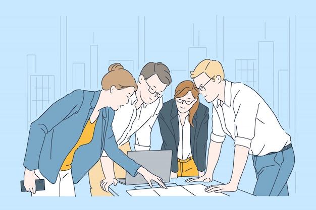 ワークフロープロセス、事業計画コンセプト Premiumベクター
