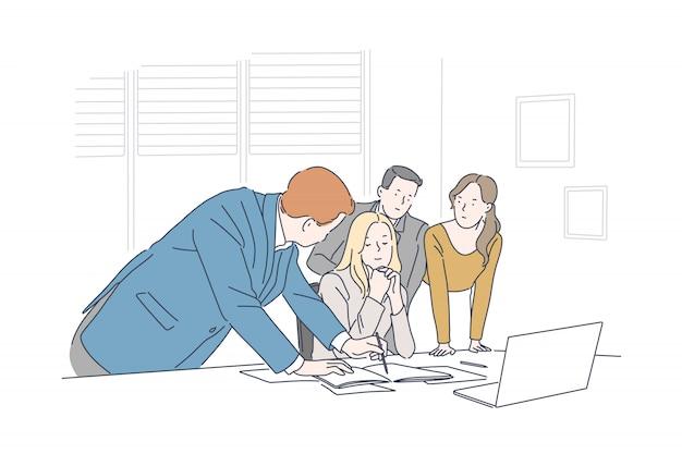ビジネス会議、ブレーンストーミングコンセプト Premiumベクター