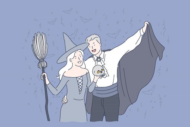 Концепция вечеринки в честь хэллоуина. Premium векторы