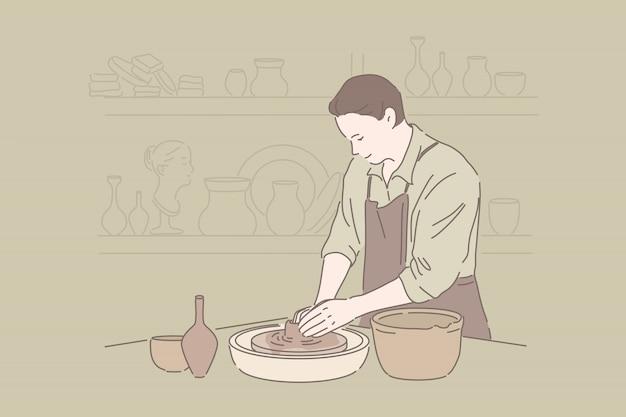 粘土細工、職人の趣味、手作りの陶器のコンセプト Premiumベクター