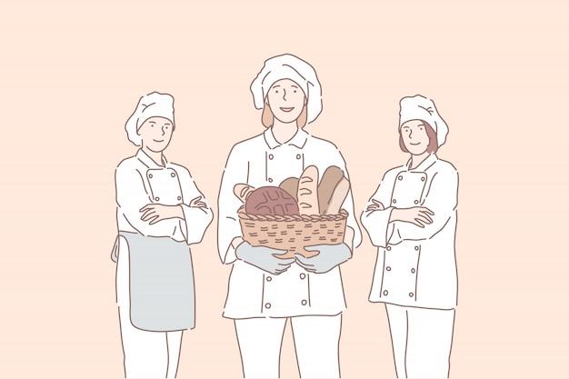 Профессиональные повара предлагают продукты, хлеб, французский хлеб. Premium векторы