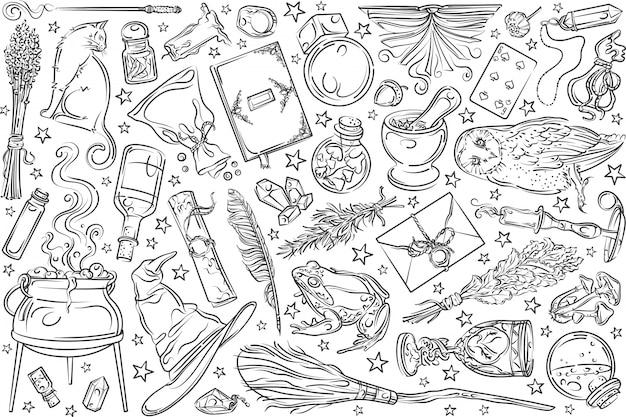 手描きの魔法のツール。 Premiumベクター