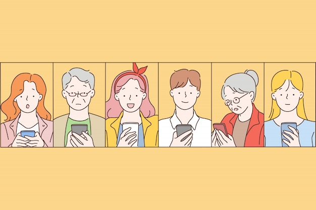 ソーシャルネットワーク、メッセージ、コミュニケーション。 Premiumベクター
