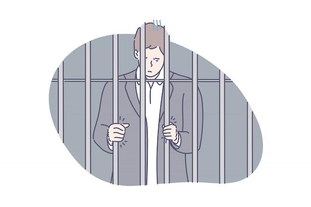 刑務所、囚人、詐欺の概念 Premiumベクター