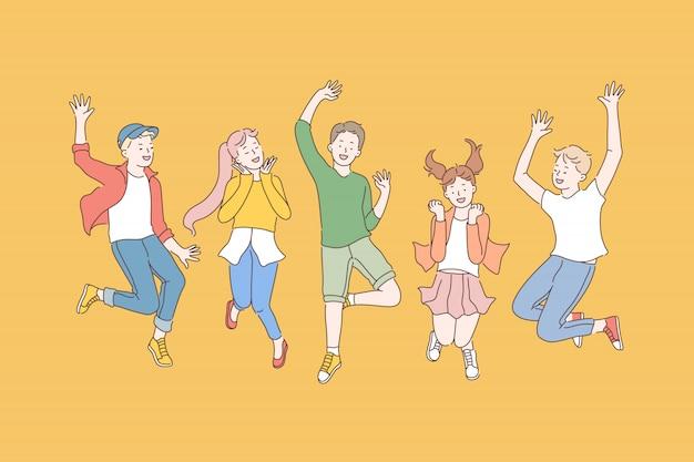 子供時代、友情、パーティー Premiumベクター