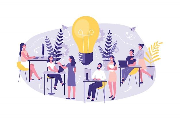 Бизнес-концепция менеджмент, тренинг, корпоратив. большая группа клерков или помощников в поиске новых идей, решений. мозговой штурм. Premium векторы