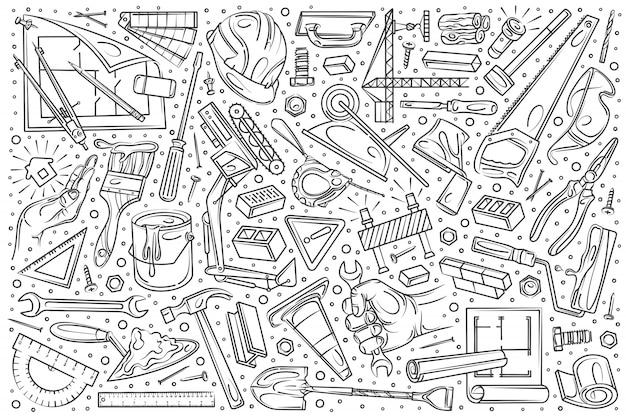 手描きの建物と建設セットの落書き Premiumベクター