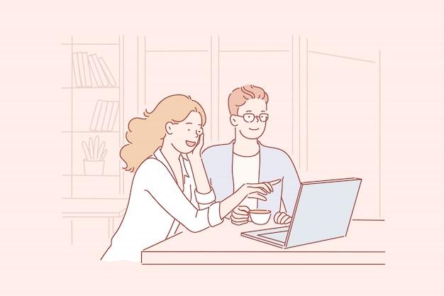 協力、ビジネス、オンラインストア Premiumベクター