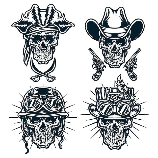 Набор символов черепов, ковбоев, стимпанка, шлемов и пиратов, черная линия версии Premium векторы
