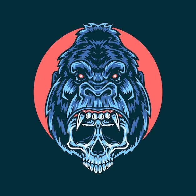 Векторная иллюстрация гориллы черепа Premium векторы