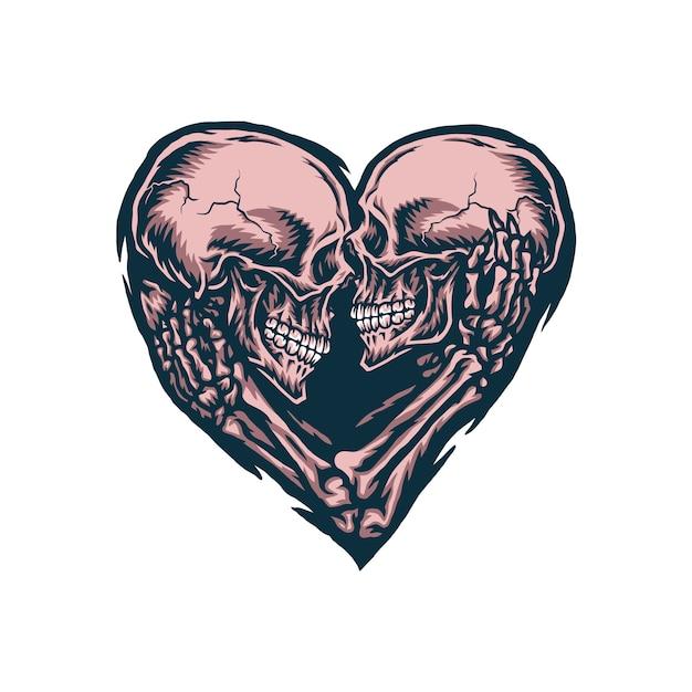 Иллюстрация пара черепа, рисованной линии с цифровым цветом Premium векторы