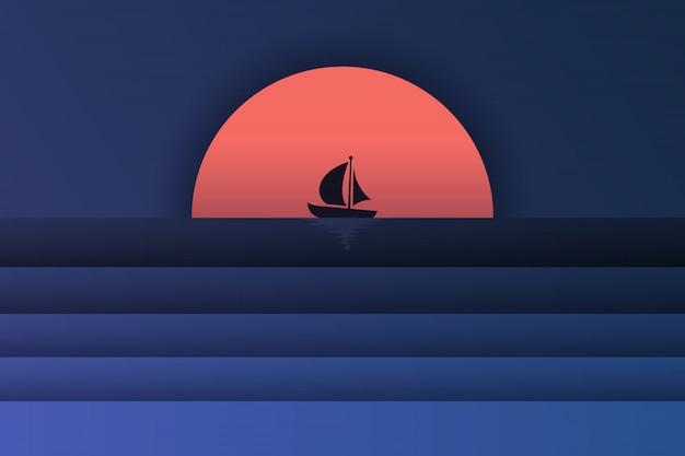 海の景色とボートと夕日のペーパーアート Premiumベクター