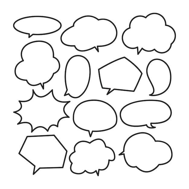 Различные симпатичные речи пузырь каракули Premium векторы