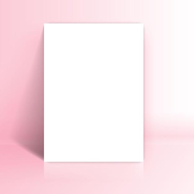 Белая бумага постная в розовой студии Бесплатные векторы