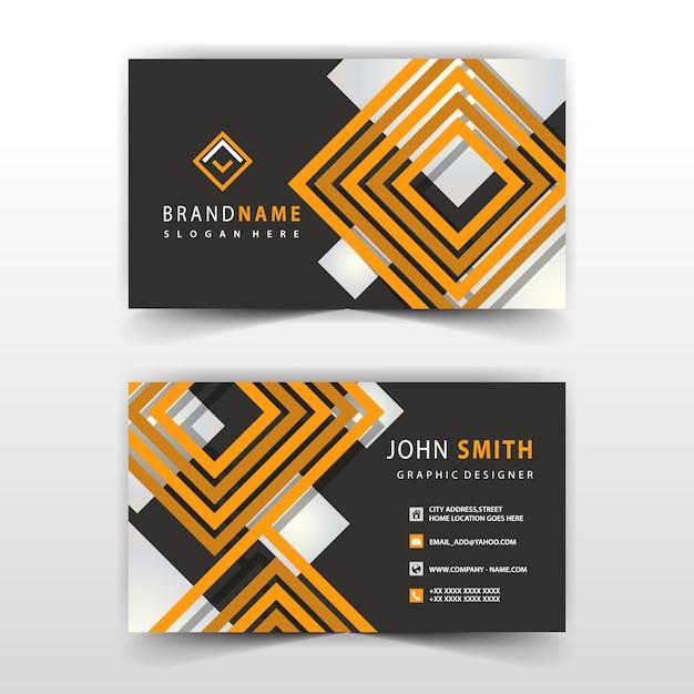 オレンジと黒の形の訪問カードデザイン 無料ベクター