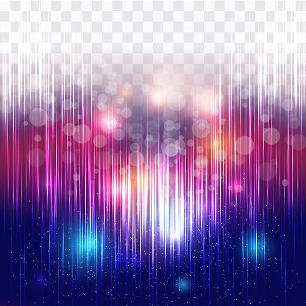 透明な背景と抽象的なカラフルなライト 無料ベクター