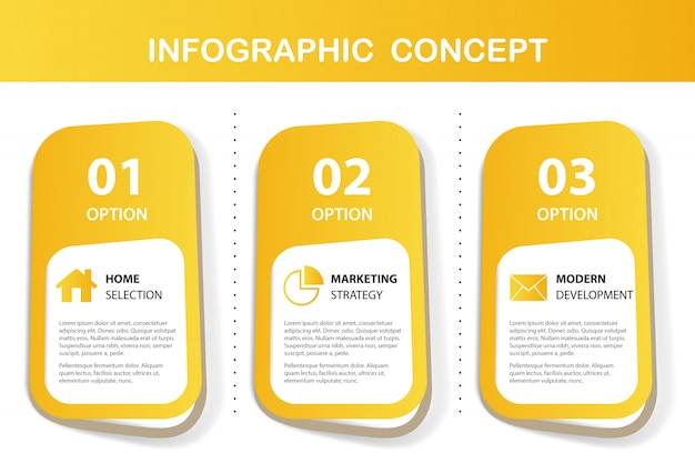 Желтый инфографики Бесплатные векторы