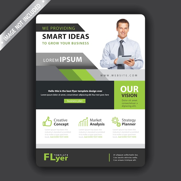 Дизайн листовки бизнес зеленая форма Бесплатные векторы