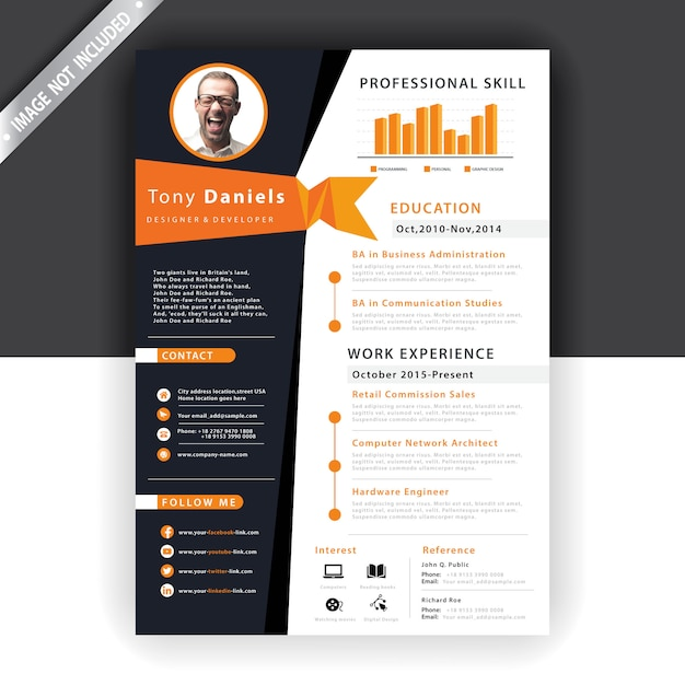 抽象的なオレンジ色の履歴書テンプレート 無料ベクター