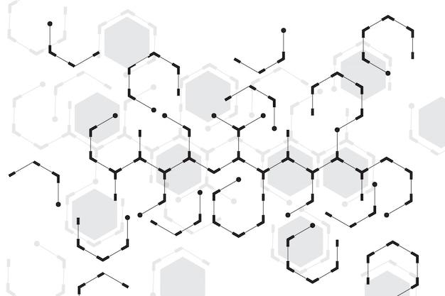 白い背景を持つ抽象的な六角形 無料ベクター