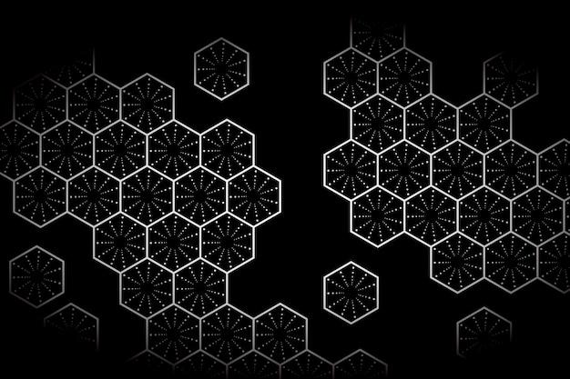 暗い背景の白い六角形 無料ベクター