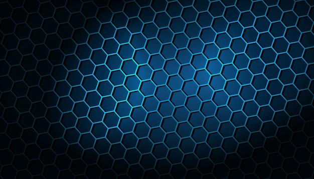 青い六角形パターンと暗い背景 無料ベクター