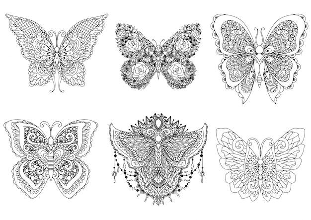 手描きの蝶のコレクション Premiumベクター