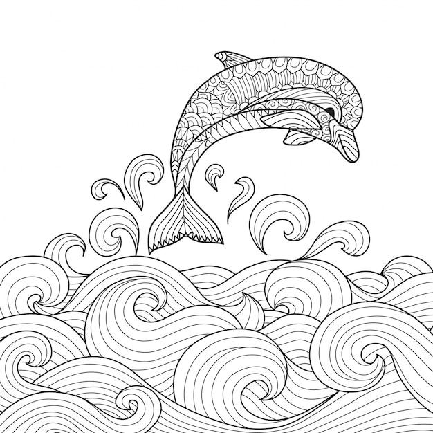 Рисованные дельфинов фона Бесплатные векторы