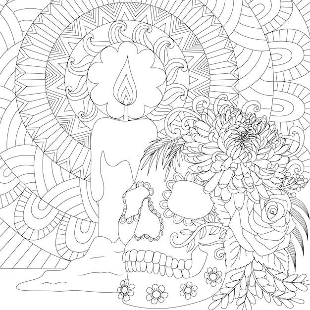 Череп и свеча, счастливая тема хэллоуина. иллюстрация Premium векторы