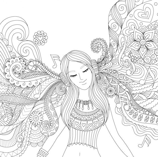 Ручная девушка, слушать музыку Бесплатные векторы