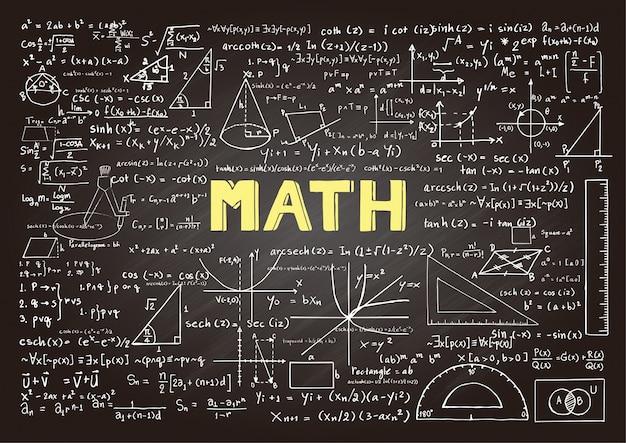 数学要素を含む黒板 無料ベクター
