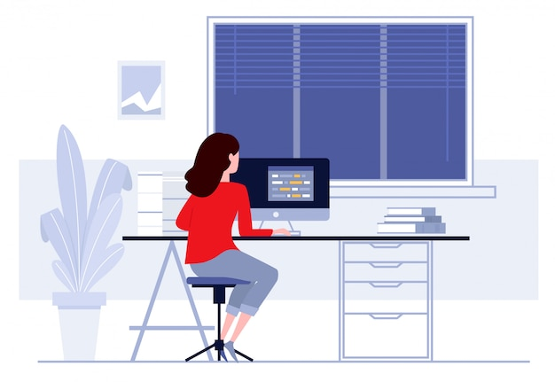オフィス、彼女の机でコンピューターに取り組んでいるビジネスの女性の職場 Premiumベクター