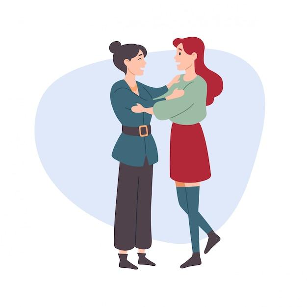 女性は女性を抱擁します。 Premiumベクター