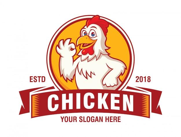レストランのロゴのハッピーチキン Premiumベクター