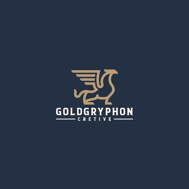 ゴールドグリフォンラインアートロゴ Premiumベクター